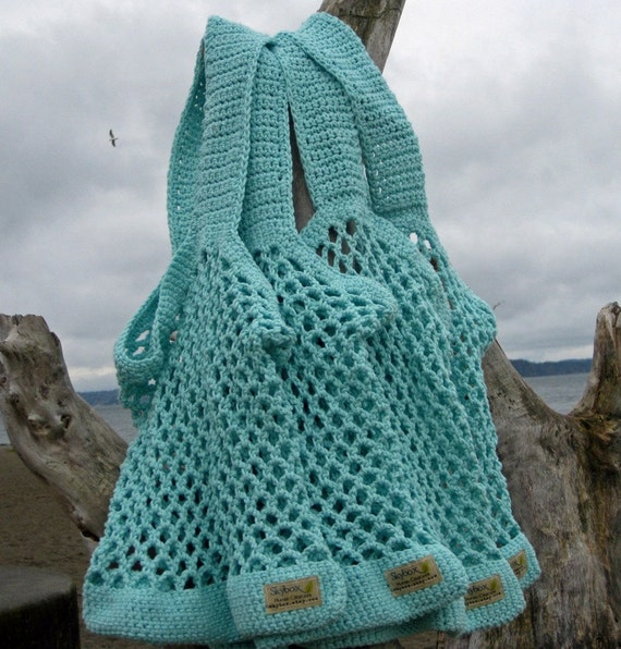 Crochet Market Bag   Bread and Butter Bag in Eggshell Blue  Handmade