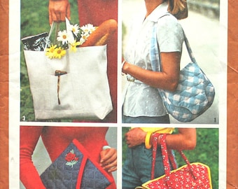Sale! Set of Tote and Shoulder  Bags Sewing Pattern Vintage Simplicity 9752