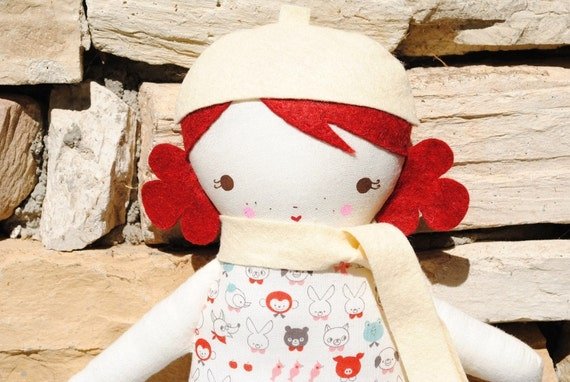 RESERVED FOR tntmccormick  -Little Sister Sprinkles Red Hair Rag Doll with Beret and Scarf