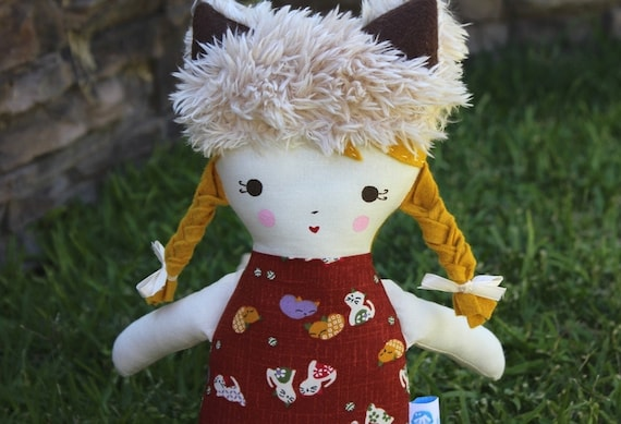 SALE Lil Sister Sprinkles Blonde Hair Rag Doll with Cat Hat and Fur Boots (cat print)
