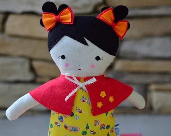 Big Sister Sprinkles Black Hair Rag Doll (Bumblebee Tree Print)
