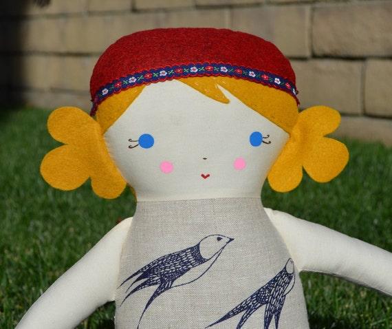 SALE SALE SALE Big Sister Sprinkles Blonde Hair Blue Eye Rag Doll (Linen Swallows by Flock Home)