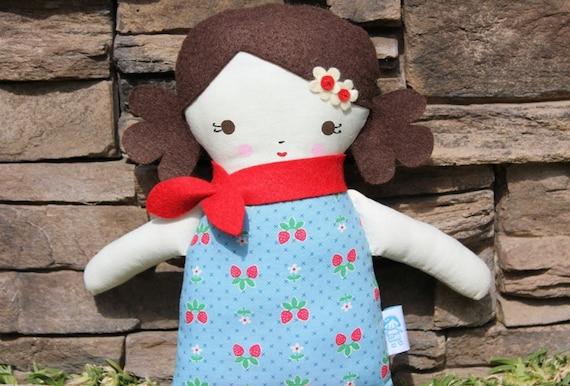 Lil Sister Sprinkles Brown Hair Rag Doll (strawberry print)