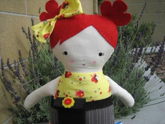 Big Sister Red Hair Rag Doll Ella Sprinkles with poppy print