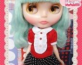 Red lolita shirt - girlish for blythe