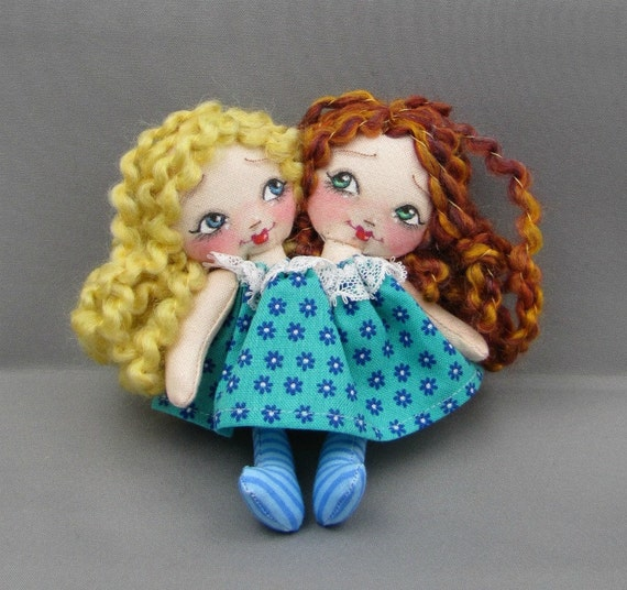 Tiny  Rag Doll for Your or Your Dolls, Two Headed Blonde and Red Head in Teal Flowers