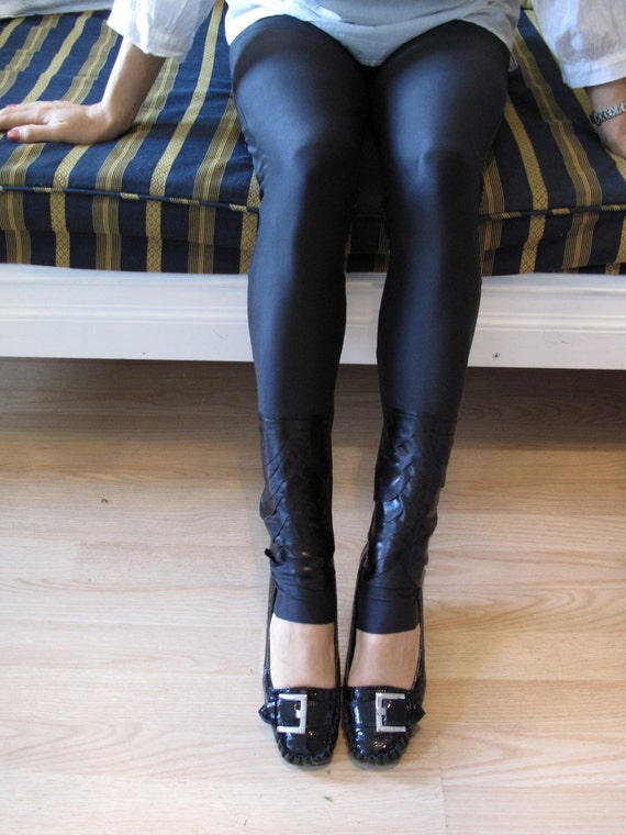 S A L E Item - Black spandex Leggings with black spandex patches on the bottom