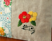 Zipper Pouch For Cats Lover --- Hand Embroidery CAMELLIA JAPONICA