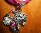 Hot Pink Necklace with Funky Silvertone Charms