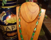 Emerald Green Art Glass with Copper Necklace and Green Heart Focal Bead
