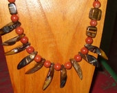 HANDCRAFTED OOAK Exotic Red and Brown Gemstone Necklace