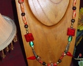 BIG SALE WAS 40, NOW 30 HANDCRAFTED Red Hot Chili Pepper Lampwork\/Pearl\/Jasper\/Wood\/Bamboo Necklace Long Chunky