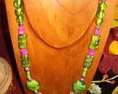 HOT PINK AND LUSCIOUS LIME NECKLACE