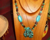 HANDCRAFTED Turquoise Necklace with Tiger Eye\/Abalone\/Copper Long Chunky