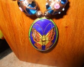 HANDCRAFTED Lime Green and Electric Blue Cloisonne Butterfly Necklace (LAYAWAY AVAILABLE)