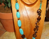 Funky asymetrical turquoise howlite statement necklace