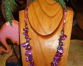 Purple pearl necklace with fan focal