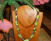Original lime green howlite turquoise and silver necklace