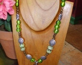 ELECTRIC LIME GREEN WITH MURANO GLASS AND CARVED WOOD PENDANT