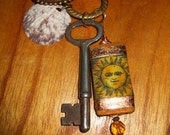 VINTAGE SKELETON KEY CHARM NECKLACE Sun Goddess' Secret to Happiness (LAYAWAY AVAILABLE)