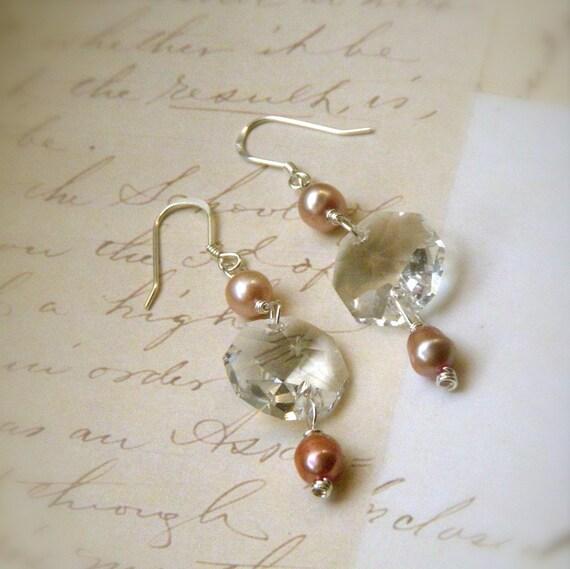 Cristalline Earrings in Peach