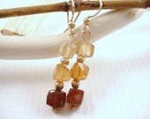 Earrings- Hessonite Garnet with14kt Gold Filled Beads and French Wires