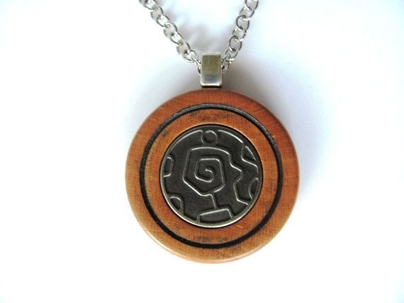 Wooden Necklace Pendant  Cherry Wood and Nazca Line Design Button Jewelry by Hendywood
