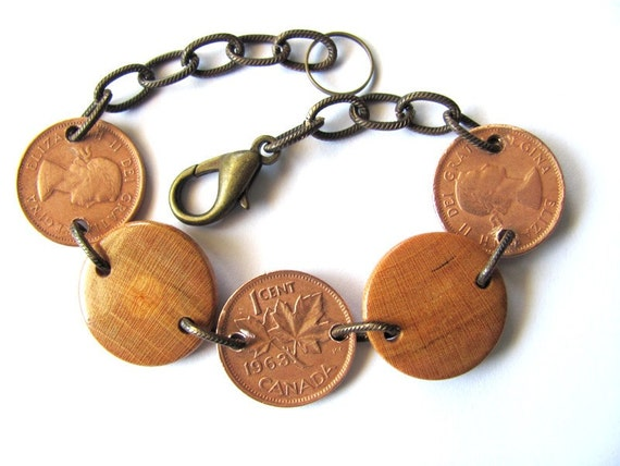 Coin Bracelet Canadian Coins Handmade Wooden Beads Cherry Wood Canada Coin Jewelry by Hendywood