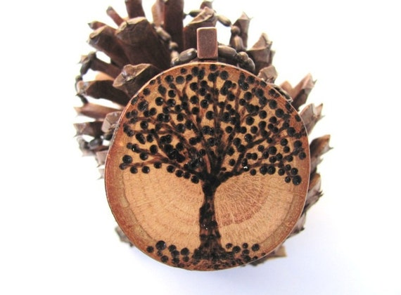 RESERVED Tree of Life  Necklace Wooden Pendant Wood Burned Tree Reclaimed Oak Branch Wood jewelry  by Hendywood