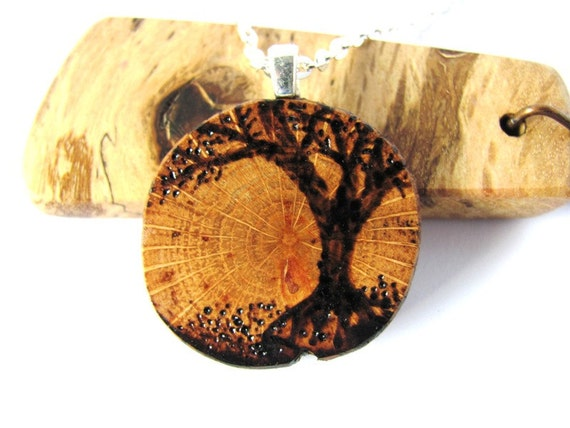Tree of Life Necklace Wooden Pendant Wood Burned Tree Reclaimed Oak Branch Jewelry  by Hendywood