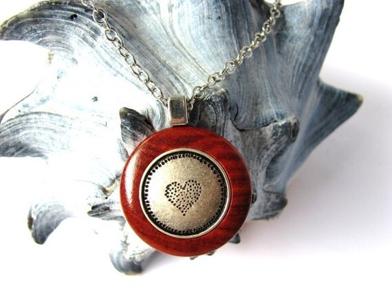 Wood Necklace Pendant Heart Metal Button Redheart Wood Button Jewelry by Hendywood