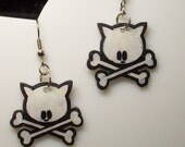 Kitty Crossbones Earrings -- FREE USA SHIPPING
