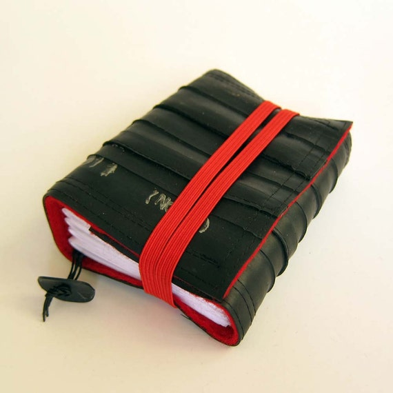 Recycled journal, bike inner tube, blank pages, red linen and red  elastic band closure, small.