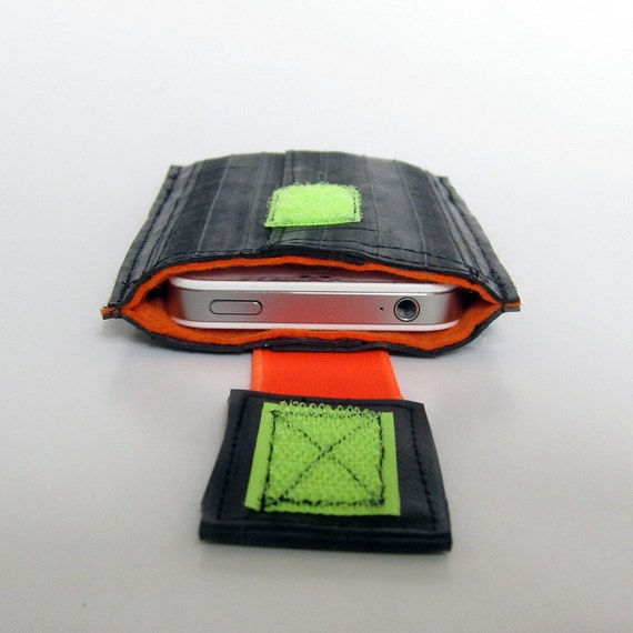 iPhone wallet, iPhone Sleeve, iPhone Case, iPhone 4s bicycle inner tube recycled.