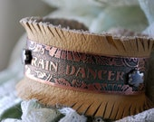 Rain Dancer Copper Etched Cuff Bracelet with Fringe Leather Lining