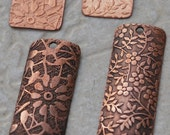 Copper Vines and Leaves Rectangle Copper Charms -12 pieces FREE SHIPPING US