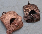 "Flowers, Leaves and Vines Etched Copper Toggle Clasp 1.25"" - Qty 2"