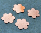Qty 4  -  Flower Copper Blanks 18mm 24 gauge  -  FREE SHIPPING
