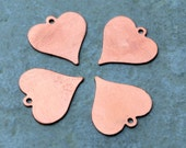Qty 4  -  Heart  Blanks w/  22mm  24 gauge  -  FREE SHIPPING