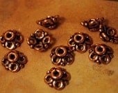 QTY 10  - Solid Copper 4 Loop  Bead Cap 10mm Bead Findings -  Free Shipping US