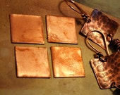 "Qty 4  -  Copper Square Blanks  24g 3/4""  -  FREE SHIPPING"