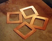 "Qty 4 - Copper 7/8""  Copper Square Blanks w/ Open Center - FREE SHIPPING"