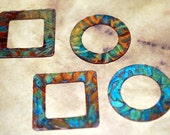 "Qty 4 Rust & Blue  Patina Venus Texture  1"" Round and Square Washers  -  Free Shipping USA"