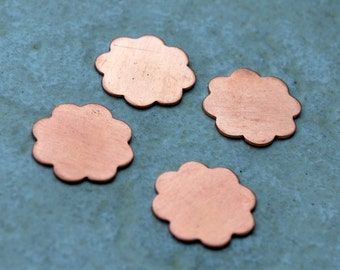 Qty 4  -  Flower Copper Blanks 14mm 24 gauge  -  FREE SHIPPING