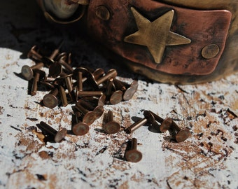 "1/4"" Flat Head Rivets....Solid Copper, Brass, Aluminum or Sterling Silver  -Free Shipping"