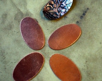 """Qty 4  -  Copper Oval Blanks Stampings  Small  24g 1/2"""" x 3/4""""  -  FREE SHIPPING"""