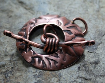 Venus Round Toggle Clasp in Oxidized Copper - Handmade Free Shipping US