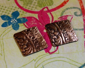 Qty 2  Textured Bronze Charms - Free Shipping USA