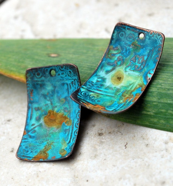 Athena Ancient Patina Copper Charms  Rectangles - 2 pieces FREE SHIPPING