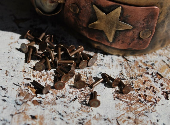 Flat Head Rivets....Copper and  Brass 30 pieces -Free Shipping